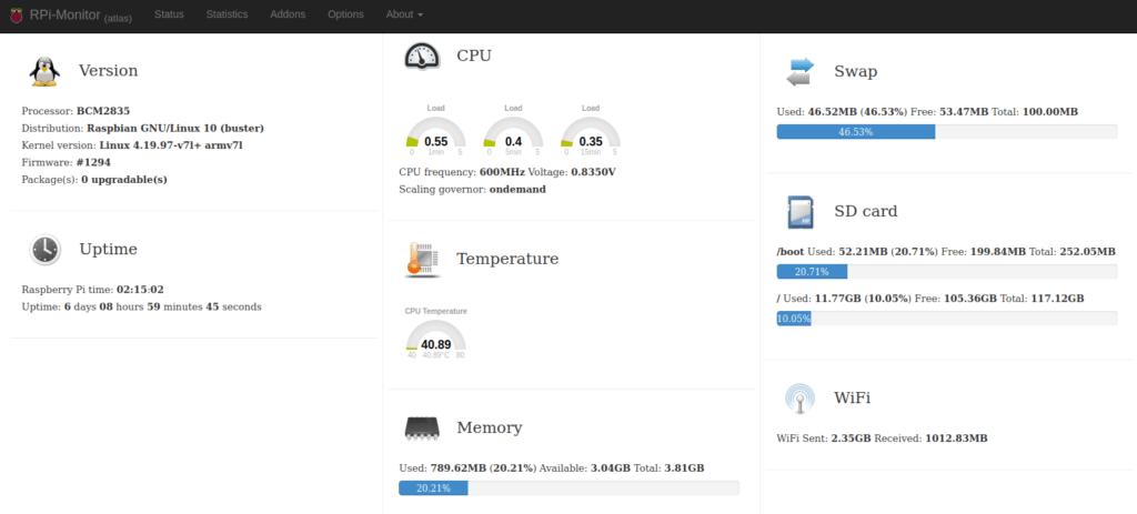 Interfaz web de RPI-Monitor
