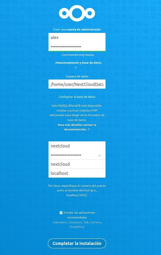 NextCloud configuración