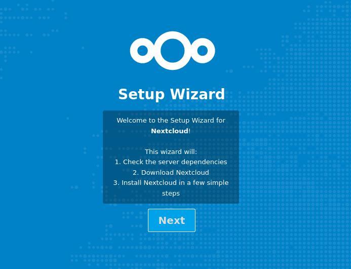 NextCloud Setup Wizard